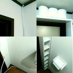 トイレのデッドスペースに作った棚の画像