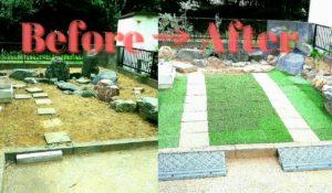 土の庭に人工芝を敷いて駐車場にした画像