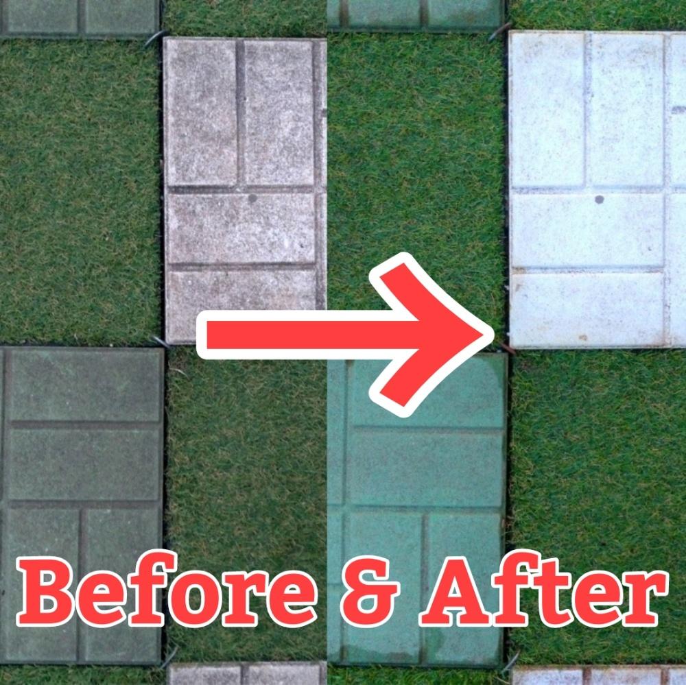 タイルの掃除前と掃除後の画像